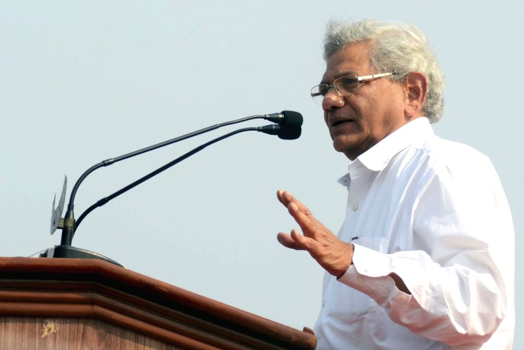 Kolkata: CPI-M General Secretary Sitaram Yechury addresses during a Left Front rally at the Brigade Parade ground in Kolkata on Feb 3, 2019. (Photo: IANS) - Sitaram Yechury