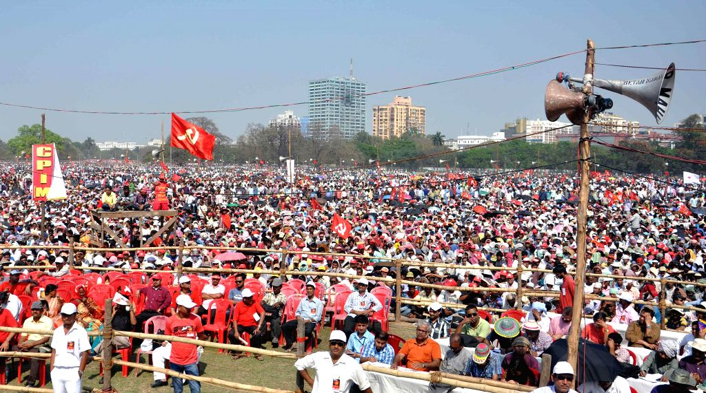 CPI(M) workers during the 24th West Bengal State Conference of the party being held at the Brigade Parade Ground in Kolkata, on March 8, 2015.
