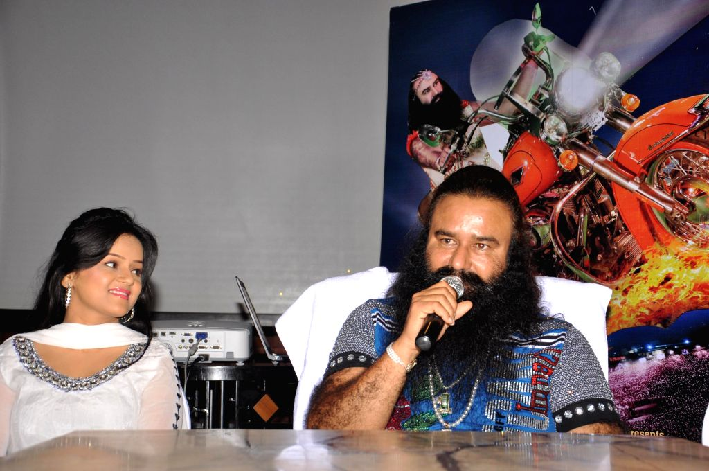 Dera Sacha Sauda chief Gurmeet Ram Rahim Singh during a press conference to promote his upcoming film `MSG: The Messenger of God` in Kolkata, on Jan 9, 2015.