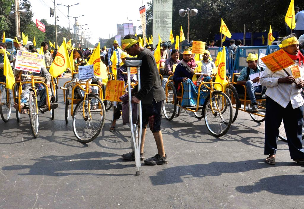 Differently-able people during a demonstration organised on `International Day for Persons with Disabilities` in Kolkata, on Dec 3, 2014.
