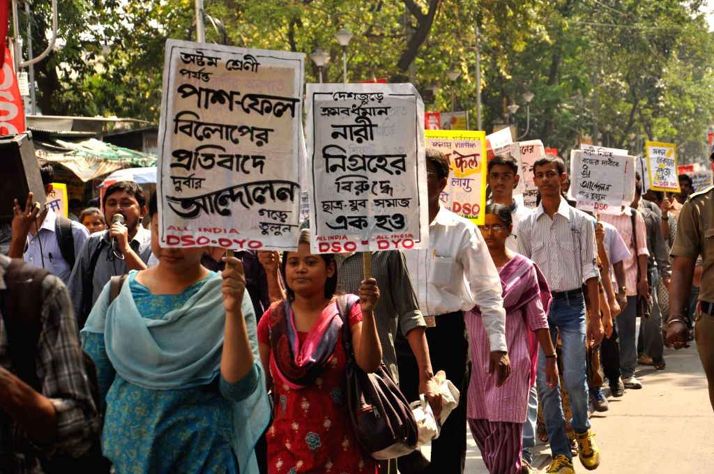DSO activists participate in a rally at College Street of Kolkata, on March 9, 2015.