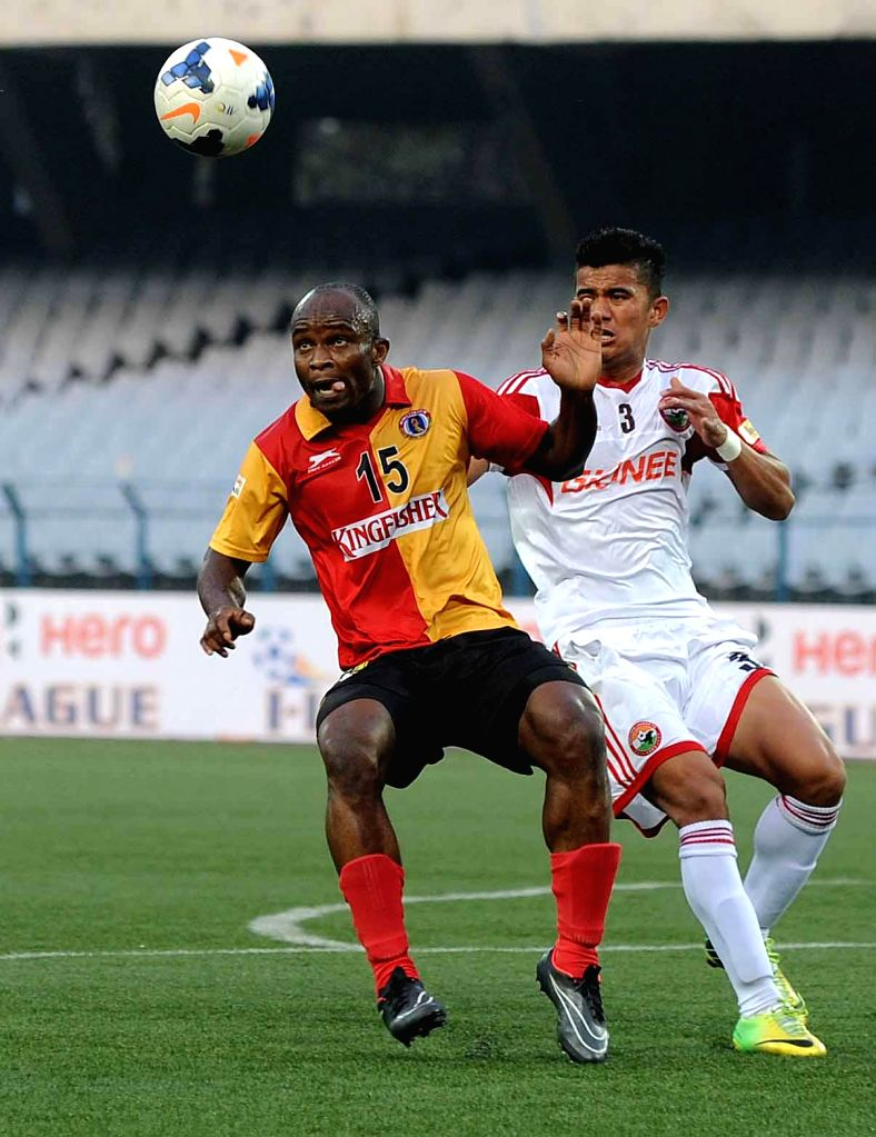 East Bengal vs Lajong FC match at Salt Lake Stadium , East Bengal won the match by 2-1 during I-League Match in Kolkata on Feb 1, 2015.