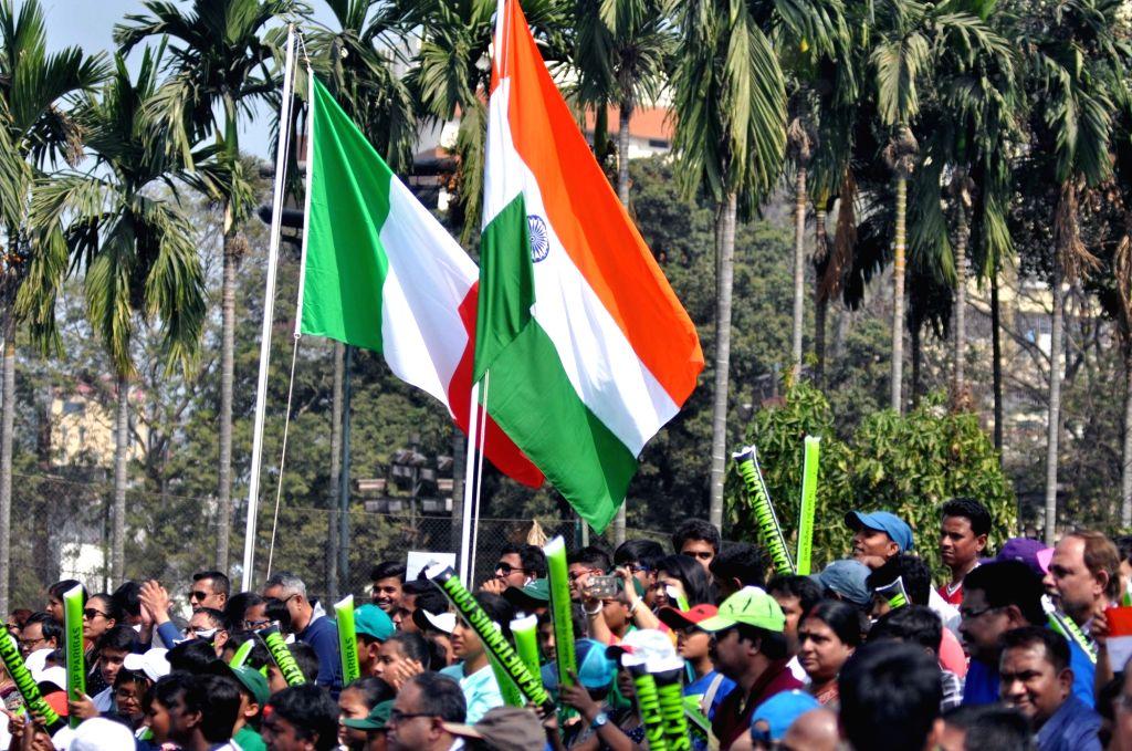 Kolkata: Fans at the Davis Cup World in Kolkata on Feb. 2, 2019. (Photo: Kuntal Chakrabarty/IANS)