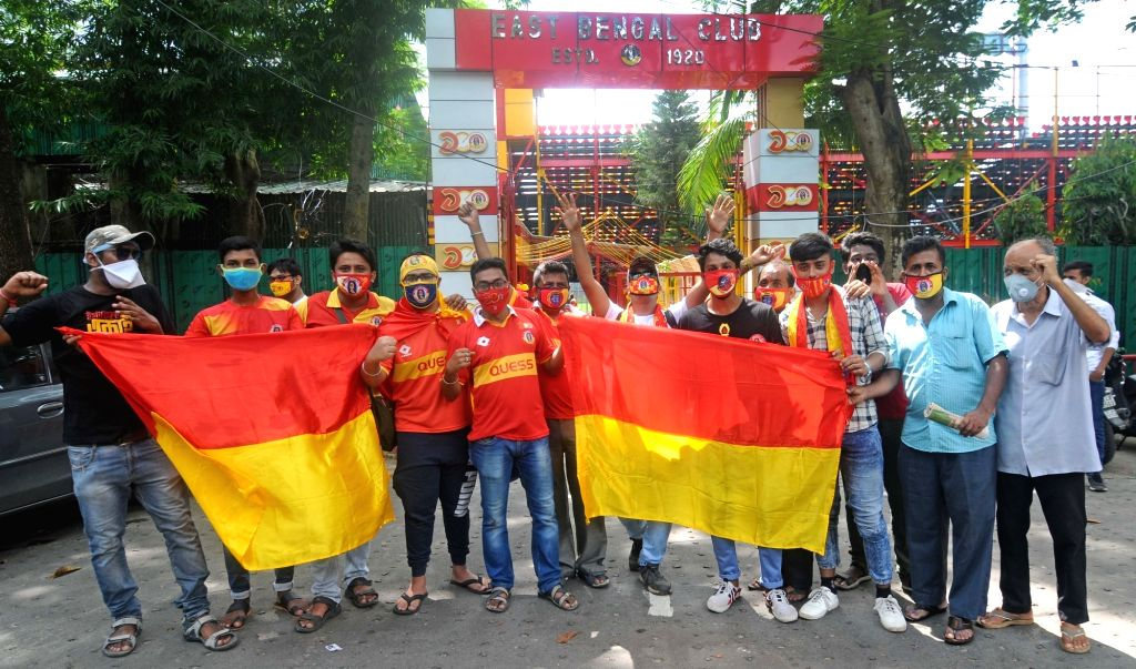Kolkata : Fans of the East Bengal Club celebrate the club's centenary foundation day, in Kolkata on Aug 1, 2020.