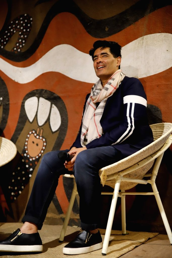 ": Kolkata: Fashion Designer Manish Malhotra during ""Jiyo! Live It!"" - an exhibit cum outreach programme, in New Delhi on Oct 13, 2018. (Photo: IANS)."