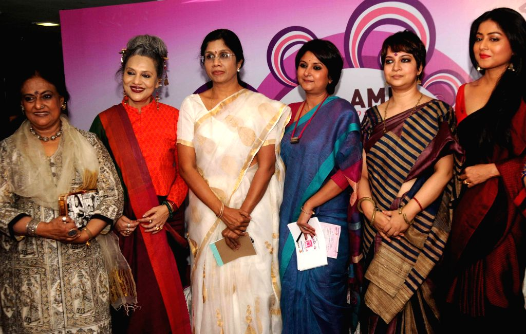 Fashion designer Sharbari Dutta, Dancer Alkananda Roy, Trinamool leader Dr Shashi Panja, actress Churni Ganguly, and others during a program on International Women's Day in Kolkata on March ... - Churni Ganguly and Alkananda Roy