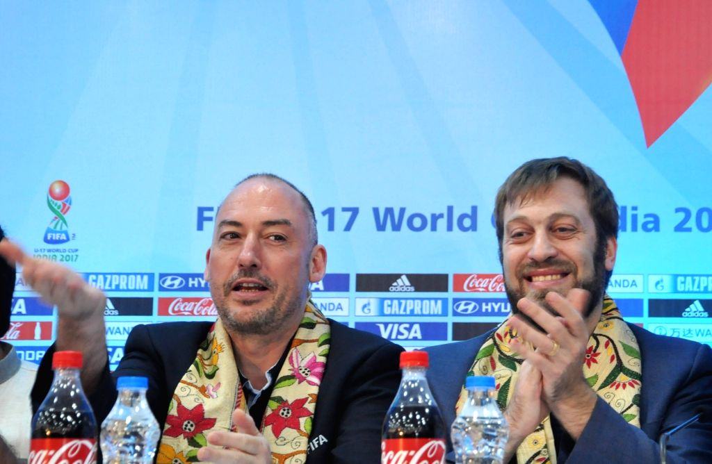 Kolkata: FIFA Head of Tournaments U-17 World Cup Jaime Yarza and FIFA U-17 World Cup India 2017 Tournament Director Javier Ceppi during a press conference regarding FIFA U-17 World Cup ...