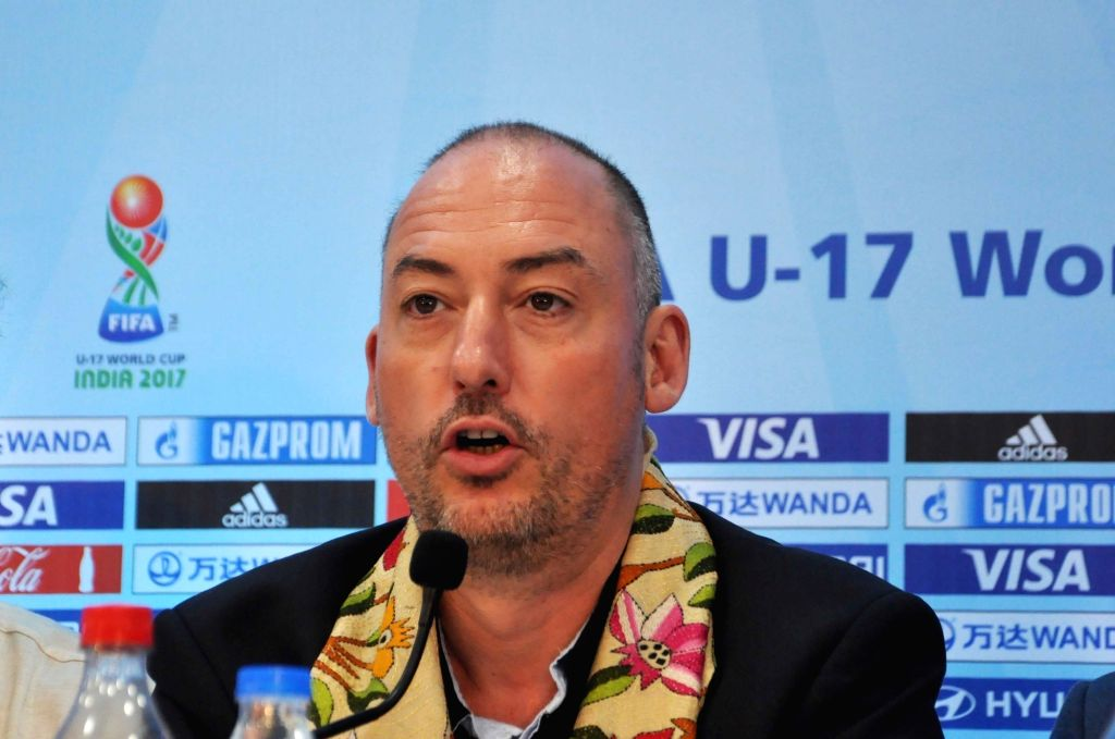 Kolkata: FIFA Head of Tournaments U-17 World Cup Jaime Yarza addresses a press conference regarding FIFA U-17 World Cup Tournament at Vivekananda Yuba Bharati Krirangan in Kolkata on March ...