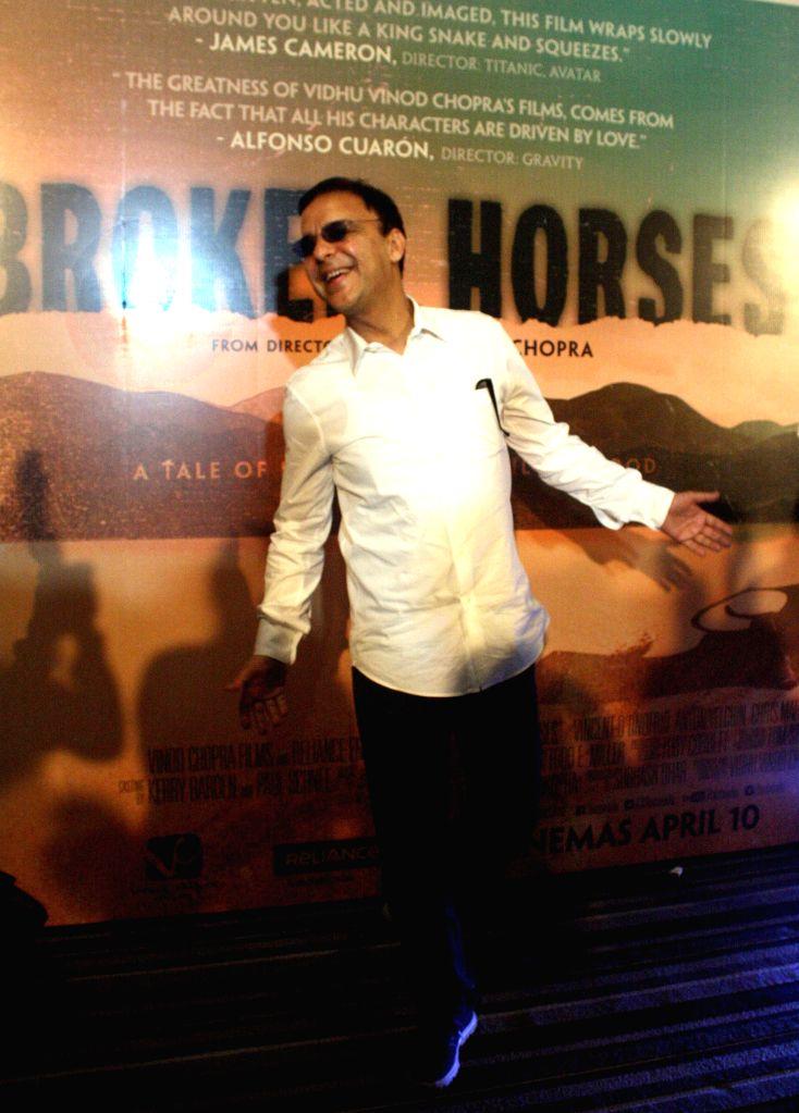Filmmaker Vidhu Vinod Chopra during a press conference regarding his upcoming Hollywood film `Broken Horses` in Kolkata on April 6, 2015. - Vidhu Vinod Chopra