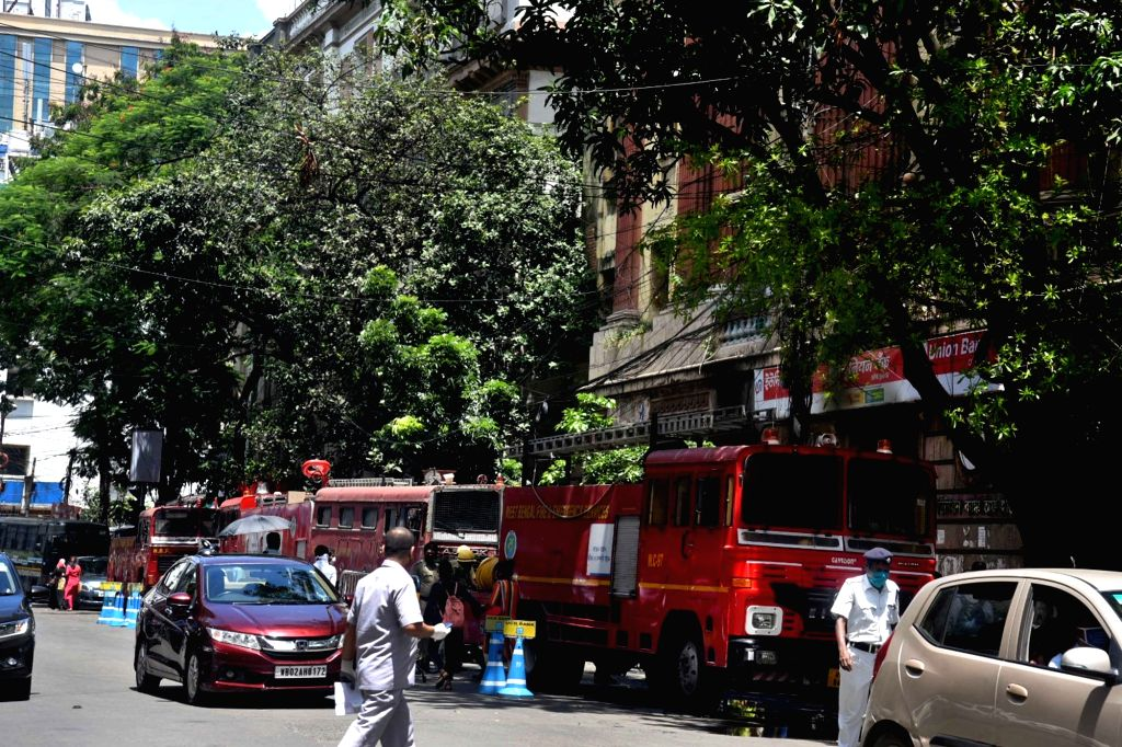 Kolkata : Fire engines parked outside the Union Bank of India's BBD Bagh branch office where a fire broke out, in Kolkata on July 31, 2020.