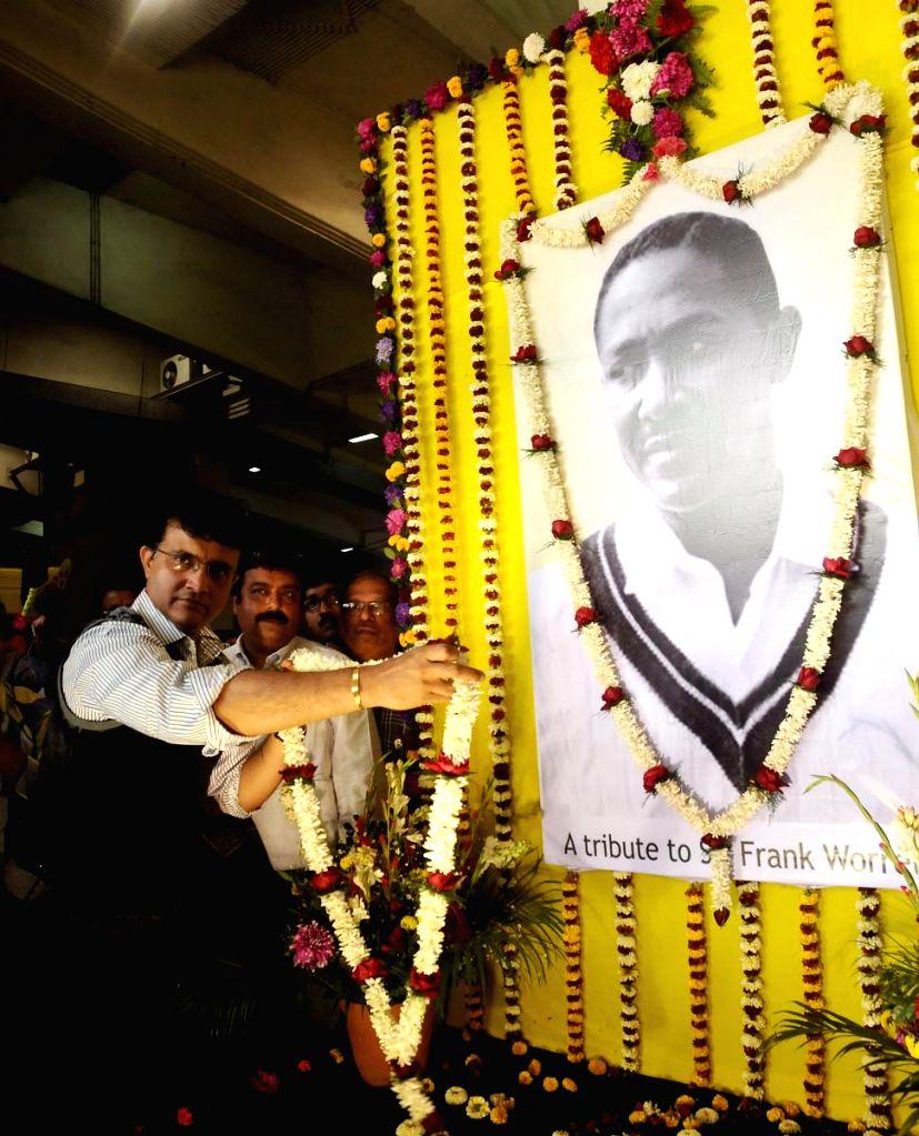 Former Indian cricket captain Sourav Ganguly pays tribute during Sir Frank Worrell Day celebration at Eden Gardens in Kolkata on Feb. 3, 2015. - Sourav Ganguly