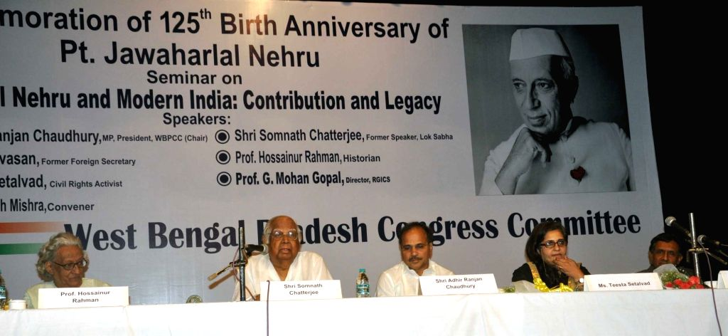 : Kolkata: Former Lok Sabha speaker Somnath Chatterjee, West Bengal Congress chief Adhir Ranjan Chawdhury, activist Teesta Setalvad and others during a seminar on Pandit Jawaharlal Nehru on his ... - Somnath Chatterjee