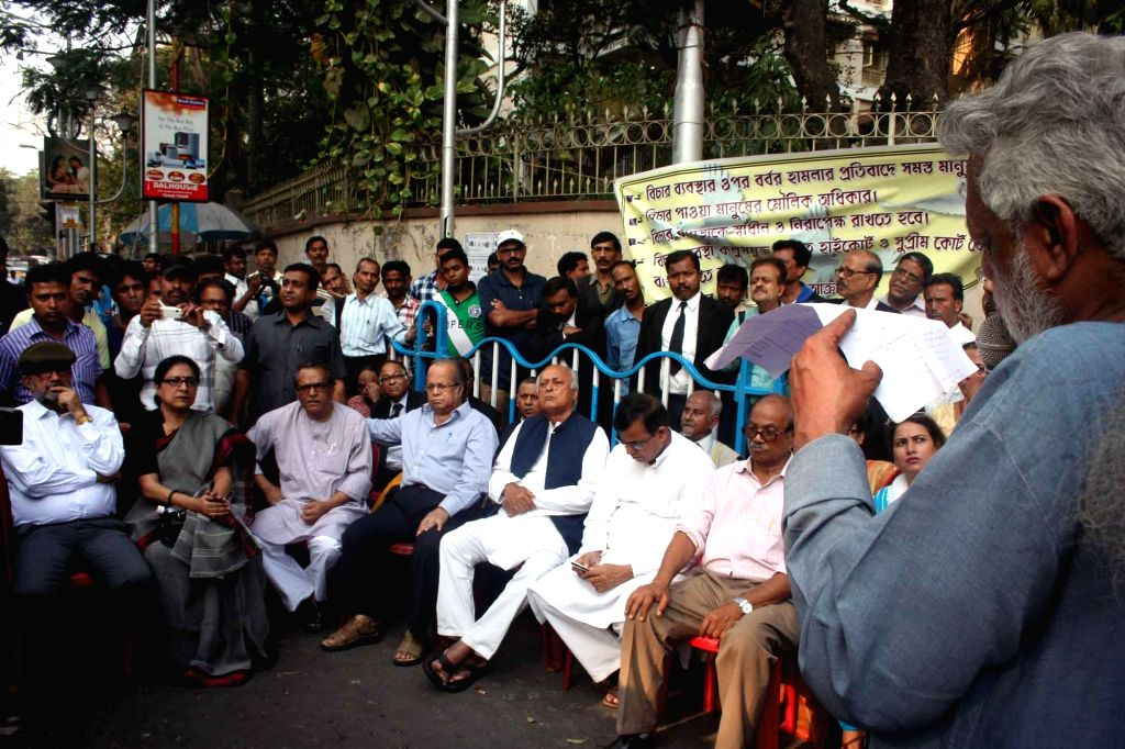 Former Naxlite leader Ashim Chatterjee addresses during a protest rally against West Bengal Government in Kolkata on Feb 18, 2015. - Ashim Chatterjee