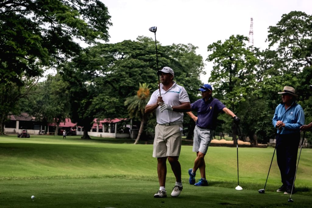 Former South African all-rounder Jacques Kallis enjoys Golf at Royal Calcutta Golf Course in Kolkata, on April 12, 2015.