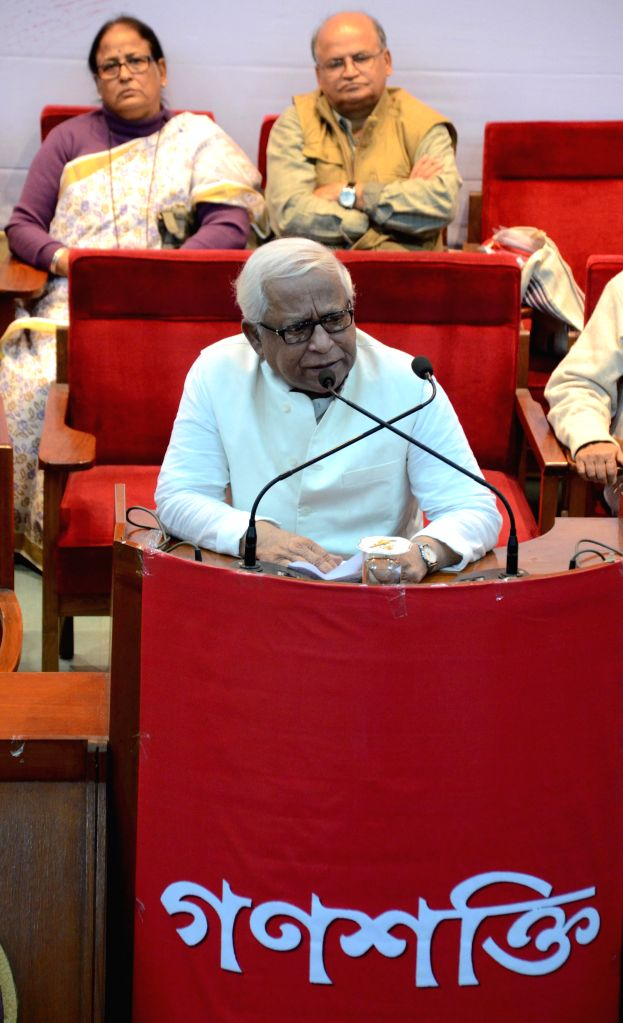 Former West Bengal Chief Minister Buddhadeb Bhattacharjee addresses during a programme organised to celebrate the 49th foundation day of Bengali News Paper `Ganashakti Patrika` which is an ..