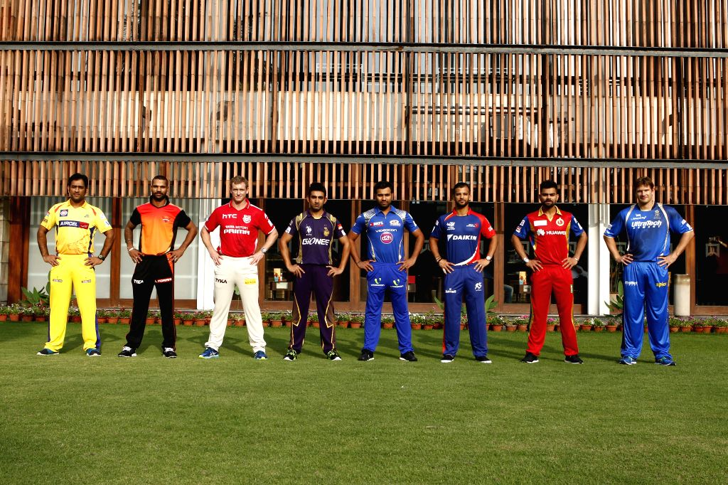 (From Left) MS Dhoni captain of The Chennai Super Kings , Shikhar Dhawan captain of the Sunrisers Hyderabad , George Bailey of the Kings XI Punjab , Gautam Gambhir captain of the Kolkata ... - MS Dhoni, Shikhar Dhawan, Rohit Sharma and Virat Kohli