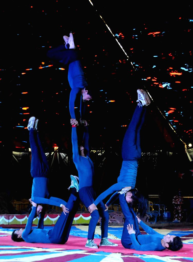 Gymnasts perform during special show at a circus in Kolkata on Dec 30, 2014.