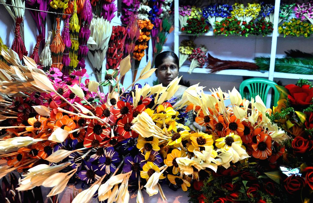Handicrafts on display at a stall of Sabala Mela - an initiative to strengthen the economically weaker sections - in Kolkata on Dec 5, 2014.