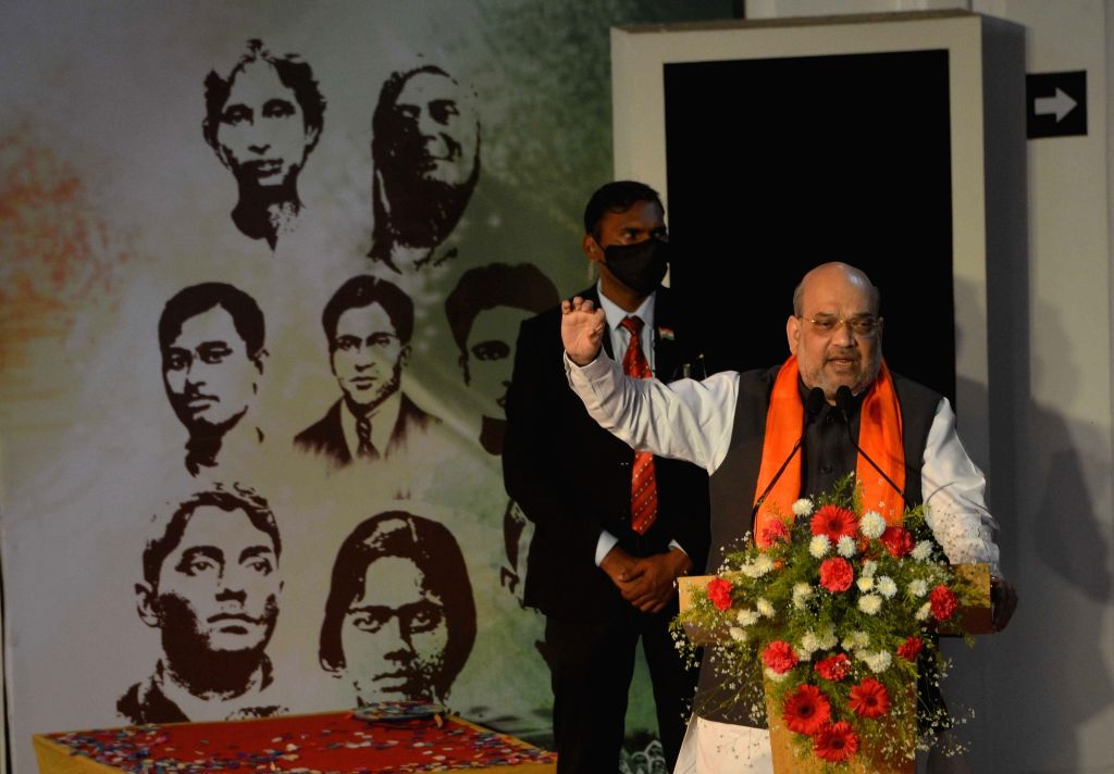 Kolkata: Home Minister Amit Shah during the inauguration of the Shauryanjali program-a tribute to the martyrs of the Bengal at National Library in Kolkata on Friday 19th February 2021. (Kuntal Chakrabarty/IANS) - Amit Shah