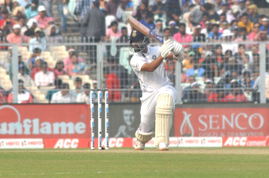 Kolkata: India's Ajinkya Rahane in action on Day 2 of the second Test match between India and Bangladesh, at the Eden Gardens in Kolkata on Nov 23, 2019. The second Test match between India and Bangladesh is the first ever pink ball Day-Night Test ma