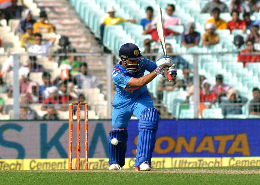 Indian batsman Ajinkya Rahane gets dismissed during the 4th ODI between India and Sri Lanka at the Eden Gardens in Kolkata, on Nov 13, 2014. - Ajinkya Rahane