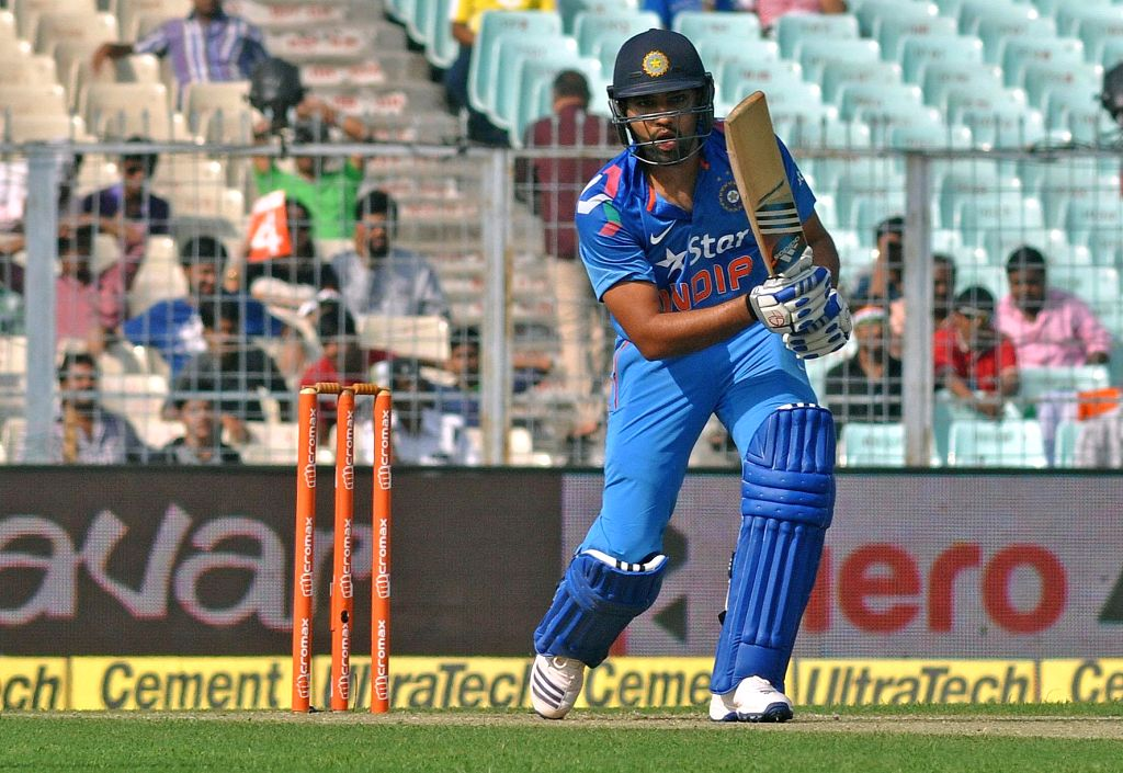 Indian batsman Rohit Sharma in action during the 4th ODI between India and Sri Lanka at the Eden Gardens in Kolkata, on Nov 13, 2014. - Rohit Sharma