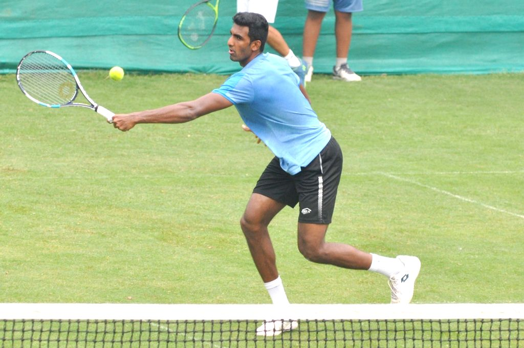 Kolkata: Indian tennis player Prajnesh Gunneswaran in action during a practice session ahead of the Davis Cup World Group qualifier against Italy on February 1-2, in Kolkata, on Jan 28, 2019. (Photo: Kuntal Chakrabarty/IANS)