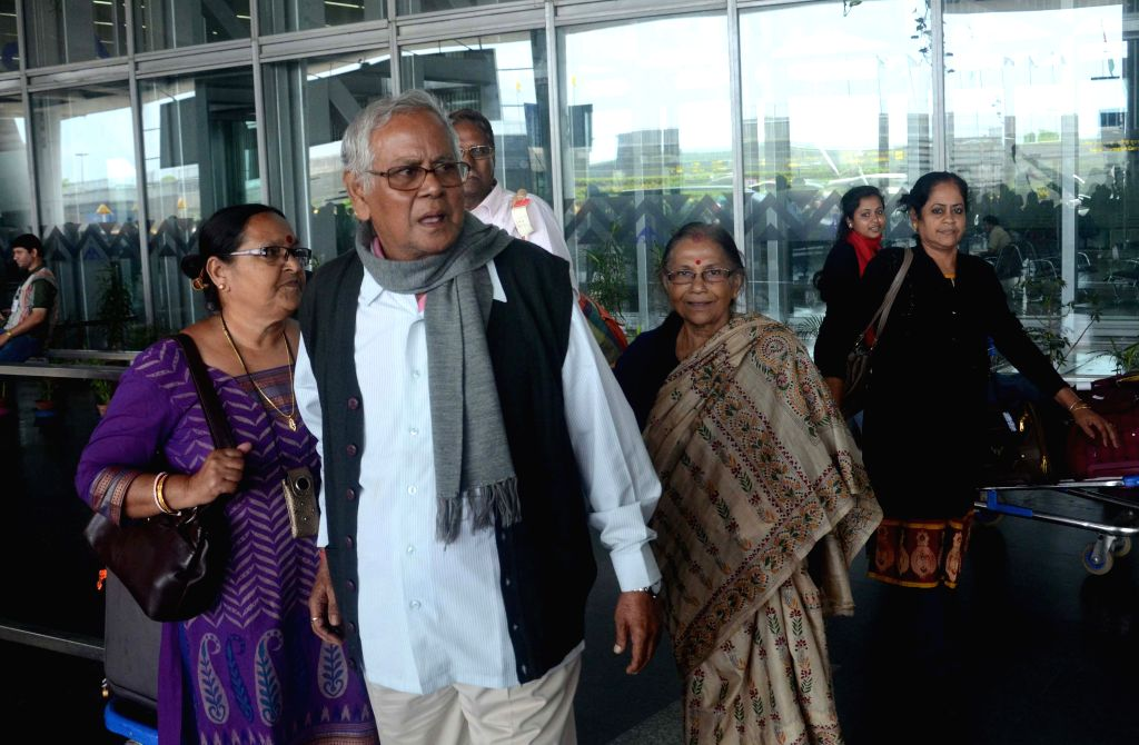 Indian tourists stranded in earthquake hit Nepal at arrive at Kolkata Airport on April 26, 2015.