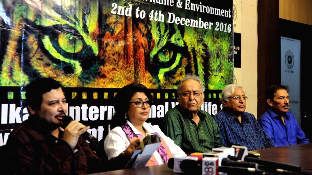 Kolkata International Wildlife & Environment Film Festival Director Aditya Lal Mukherjee, filmmaker Debashree Roy, actor Soumitra Chatterjee, actor-chairman of the festival  Chuni ... - Soumitra Chatterjee, Lal Mukherjee, Debashree Roy and Chuni Goswami