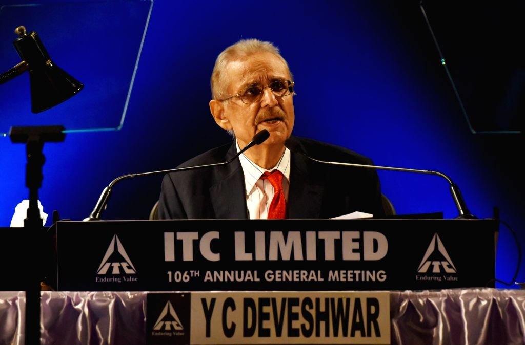 Kolkata: ITC Chairman Y.C. Deveshwar during the 106th Annual General Meeting of the company in Kolkata, on July 27, 2017. (Photo: Kuntal Chakrabarty/IANS)