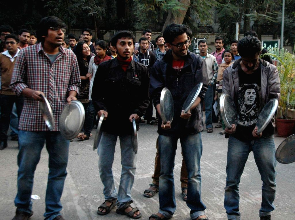 Jadavpur University students stage a demonstration to press for the removal of vice chancellor Abhijit Chakrabarti at the university campus in Kolkata, on Jan 7, 2015.