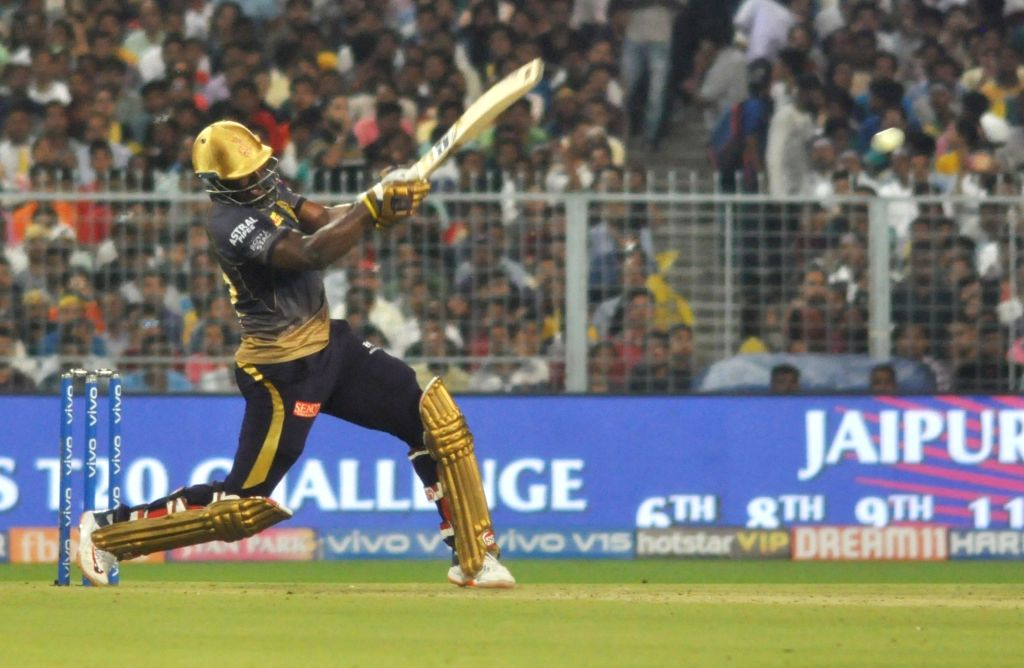 Kolkata Knight Riders' Andre Russell in action during the 43rd match of IPL 2019 between Kolkata Knight Riders and Rajasthan Royals at Eden Gardens in Kolkata, on April 25, 2019.