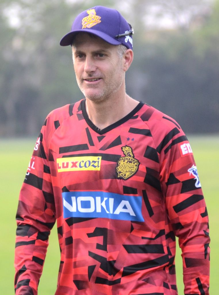 Kolkata Knight Riders' assistant coach Simon Katich during a practice session in Kolkata, on March 14, 2019.