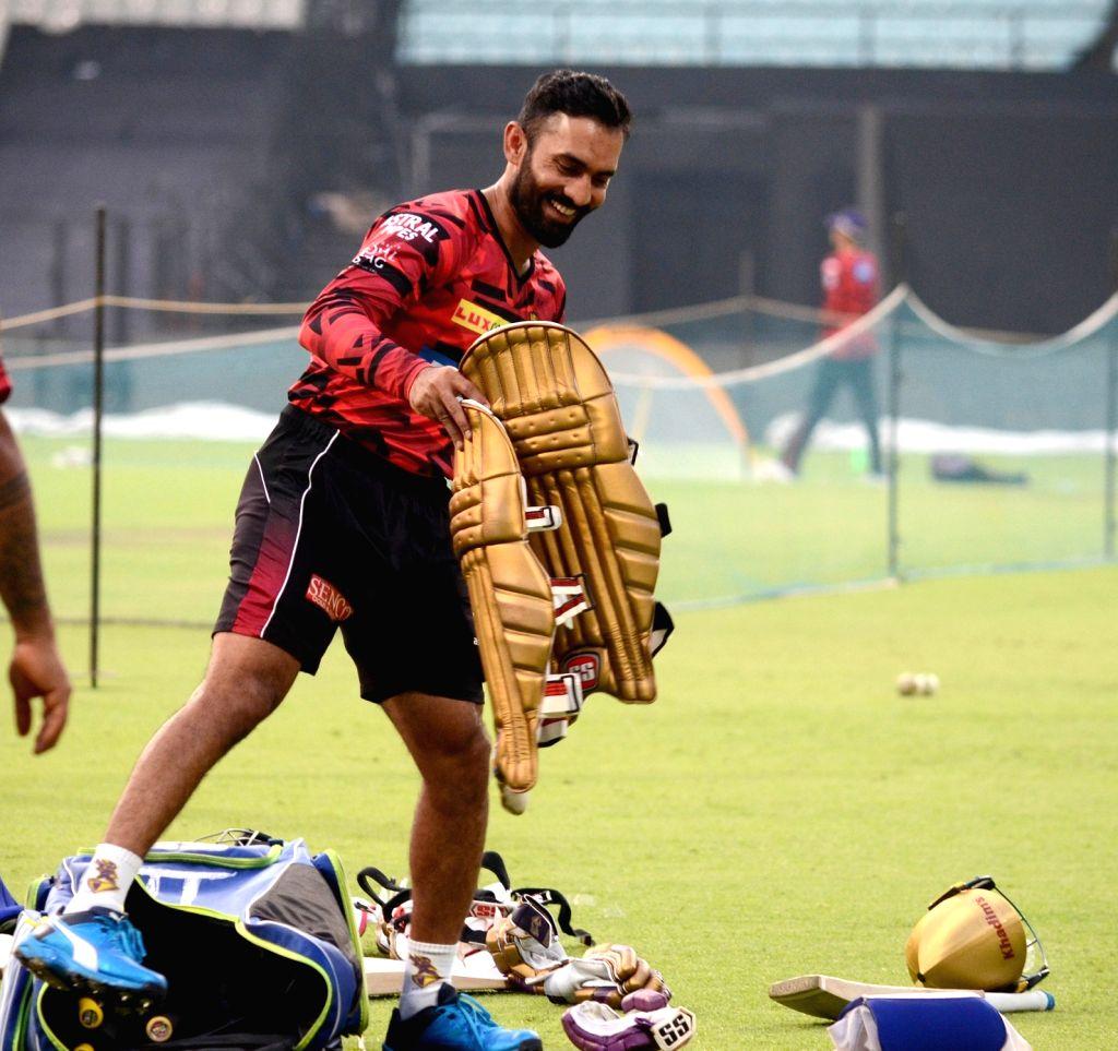 Kolkata Knight Riders captain Dinesh Karthik during a practice session in Kolkata, on April 16, 2019. - Dinesh Karthik