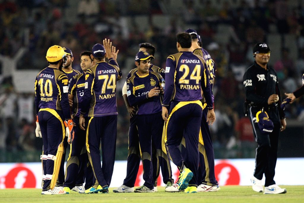 Kolkata Knight Riders celebrate fall of a wicket during an IPL match between Kings XI Punjab and Kolkata Knight Riders at Punjab Cricket Association IS Bindra Stadium in Mohali on April 19, ...