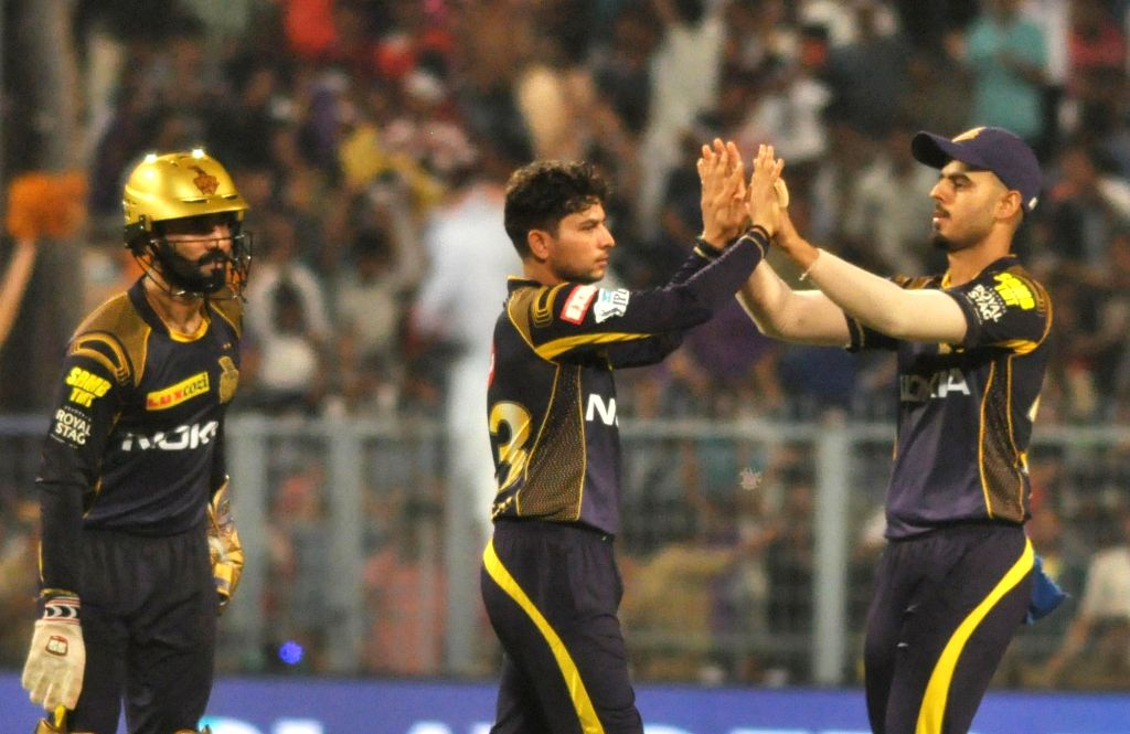 Kolkata Knight Riders celebrate fall of a wicket during the Eliminator match of IPL 2018 between Kolkata Knight Riders and Rajasthan Royals at the Eden Gardens in Kolkata on May 23, 2018.