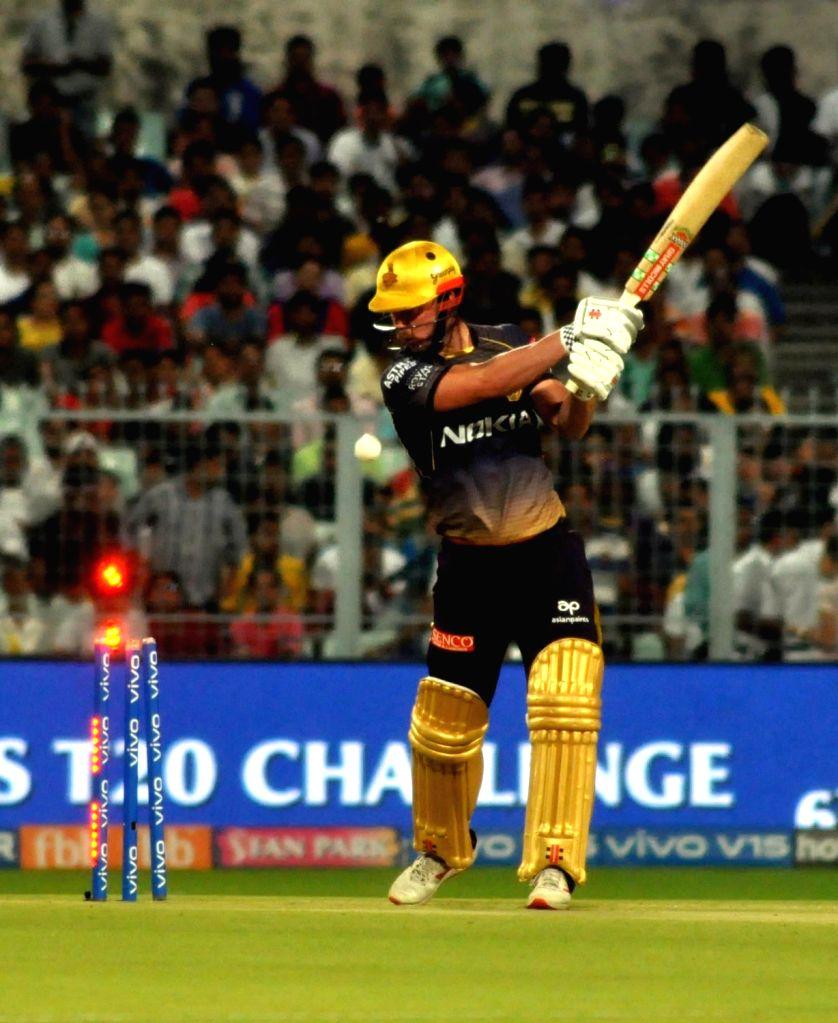 Kolkata Knight Riders' Chris Lynn gets bowled out during the 43rd match of IPL 2019 between Kolkata Knight Riders and Rajasthan Royals at Eden Gardens in Kolkata, on April 25, 2019.
