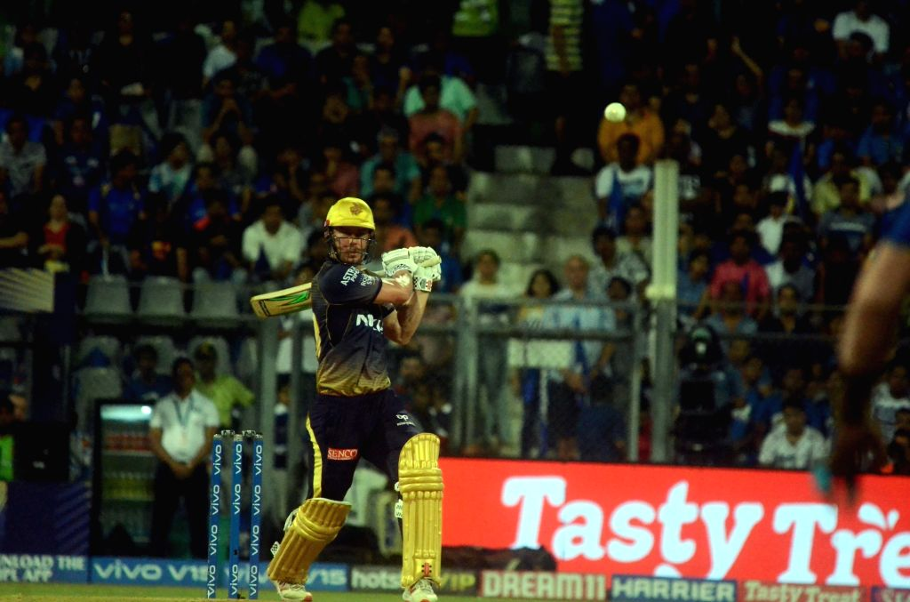 Kolkata Knight Riders' Chris Lynn in action during the 56th match of IPL 2019 between Kolkata Knight Riders and Mumbai Indians at Wankhede Stadium in Mumbai, on May 5, 2019.