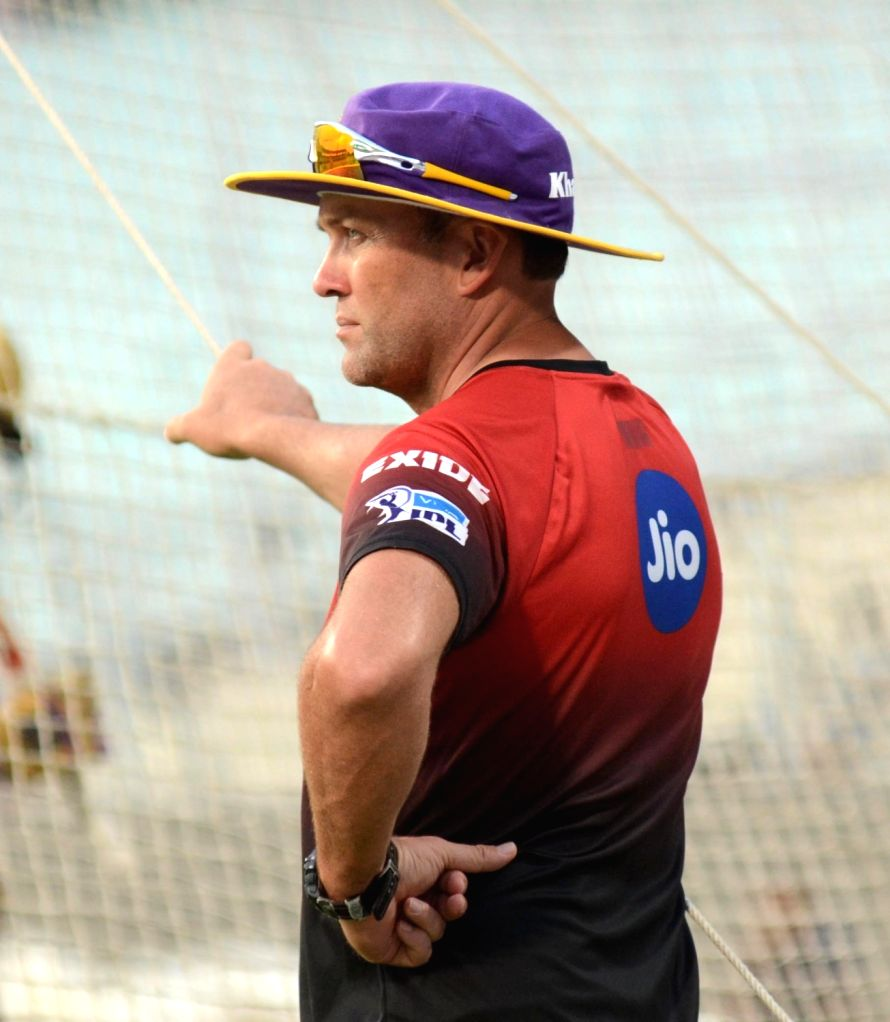 Kolkata Knight Riders coach Jacques Kallis during a practice session, in Kolkata on May 21, 2018.