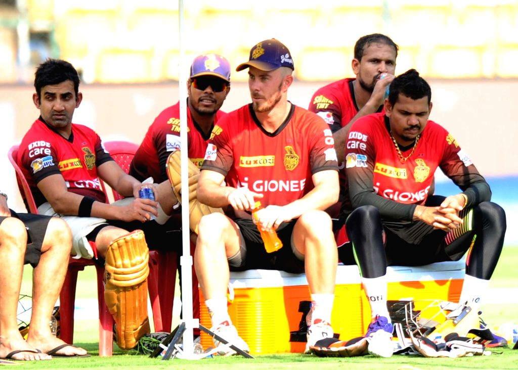 Kolkata Knight Riders during a practice session ahead of their playoff match against Sunrise Hyderabad at Chinnaswamy Stadium in Bengaluru on May 16, 2017.