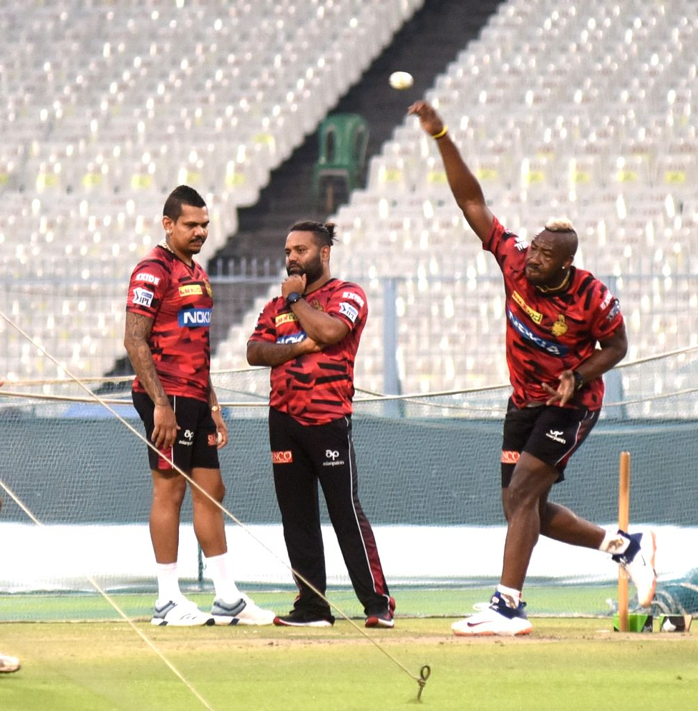 Kolkata Knight Riders during a practice session at the Eden Gardens in Kolkata on April 27, 2019.
