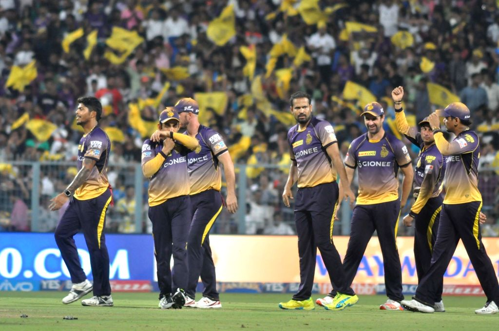 Kolkata Knight Riders during an IPL 2017 match between Kolkata Knight Riders and Mumbai Indians at Eden Gardens in Kolkata, on May 13, 2017.