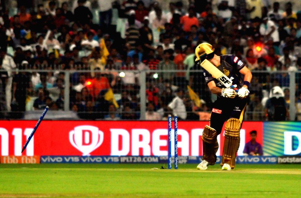 Kolkata Knight Riders' Joe Denly gets bowled out during the 26th match of IPL 2019 between Kolkata Knight Riders and Delhi Capitals at Eden Gardens in Kolkata on April 12, 2019.