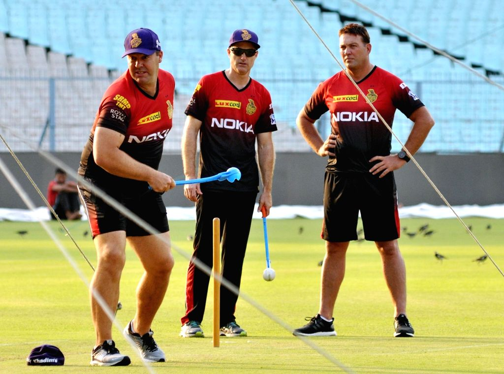 Kolkata Knight Riders (KKR) bowling coach Heath Streak, assistant coach Simon Katich and head coach Jacques Kallis during the team's practice session at Eden Gardens in Kolkata on April 5, ...