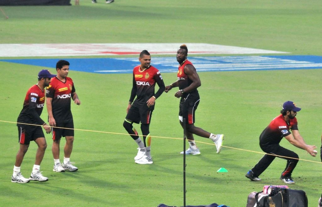 Kolkata Knight Riders (KKR) players during a practice session at Eden Gardens in Kolkata on April 6, 2018.