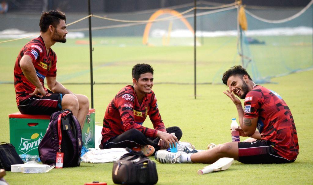 Kolkata Knight Riders' Nitish Rana and Rinku Singh during a practice session in Kolkata, on April 16, 2019. - Rinku Singh
