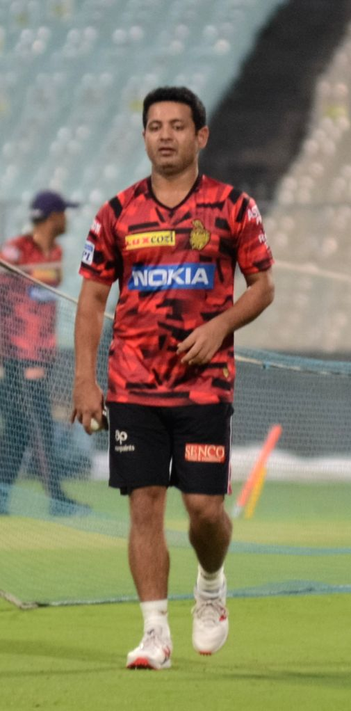 Kolkata Knight Riders' Piyush Chawla during a practice session in Kolkata on April 11, 2019.