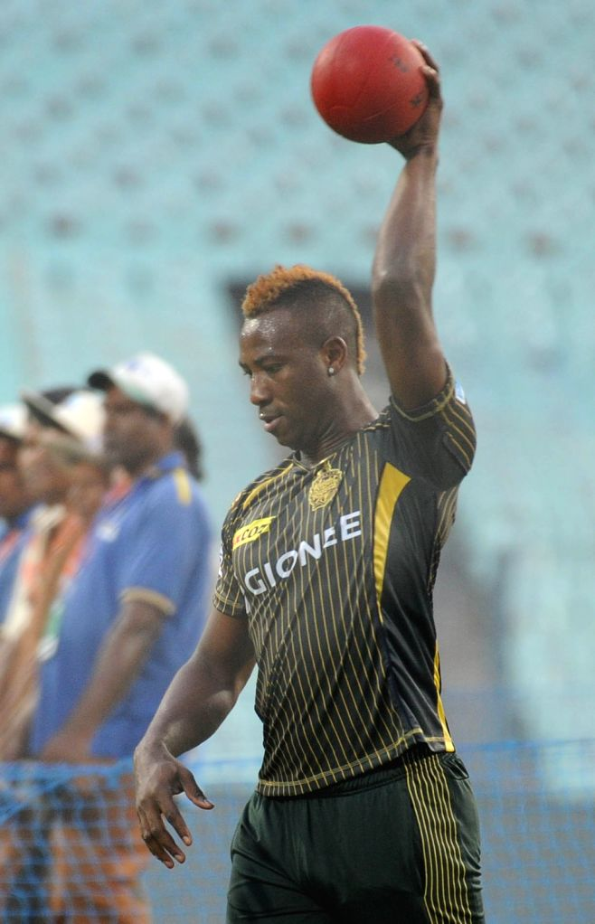 Kolkata Knight Riders player Andre Russell during a practice session at Eden Gardens in Kolkata on April 12, 2016.