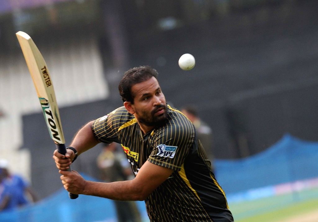 Kolkata Knight Riders player Yusuf Pathan during a practice session at Eden Gardens in Kolkata on April 12, 2016.