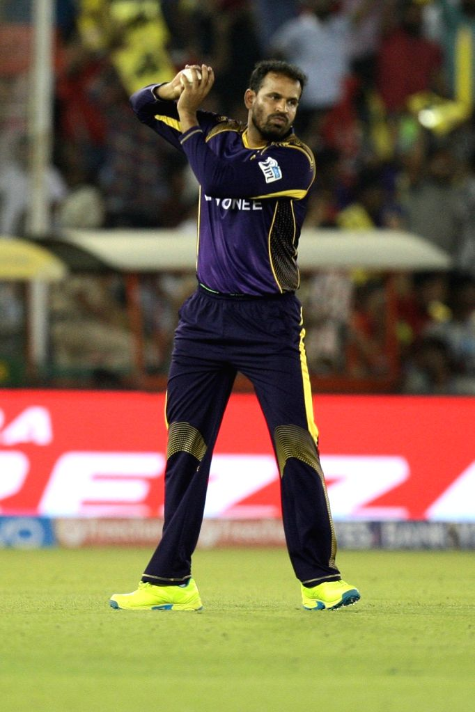 Kolkata Knight Riders player Yusuf Pathan during an IPL match between Kings XI Punjab and Kolkata Knight Riders at Punjab Cricket Association IS Bindra Stadium in Mohali on April 19, 2016.
